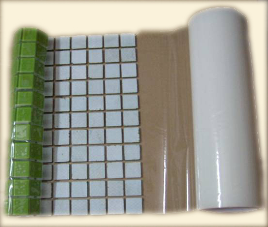 It S A Front Mount Clear Adhesive Film Which Is Strong Enough To Hold Tileosaic Pieces For Packaging Transit And Installation But Designed